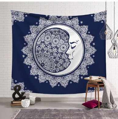 White Moon with Blue Background Tapestry, Wall Hanging, Home Decor