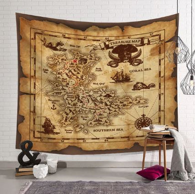 Pirates Treasure Map Tapestry, Wall Hanging, Home Decor