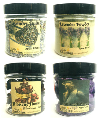 Four 4-ounce containers of Botanicals, Lavender (Buds & Powder), Hibiscus and Angel Wings