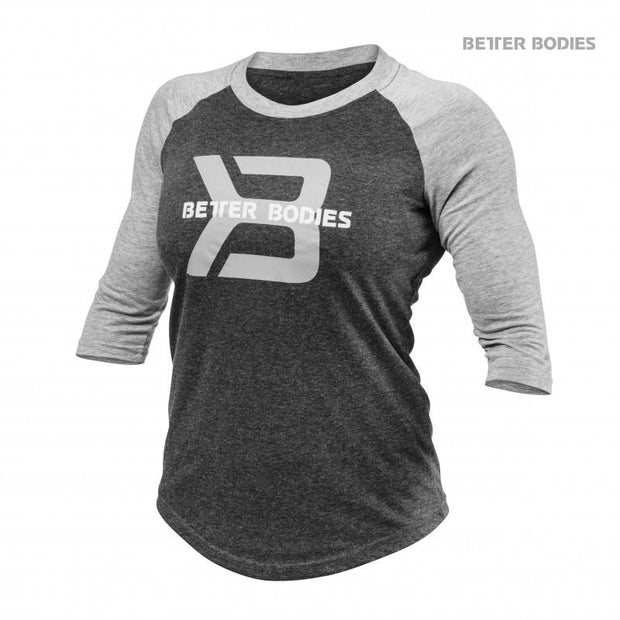 Better Bodies Womens Baseball Tee - Anthracite Melange