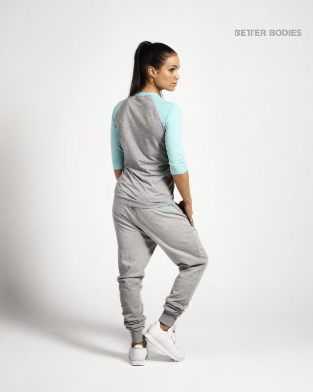 Better Bodies Womens Baseball Tee - Grey/Light Aqua