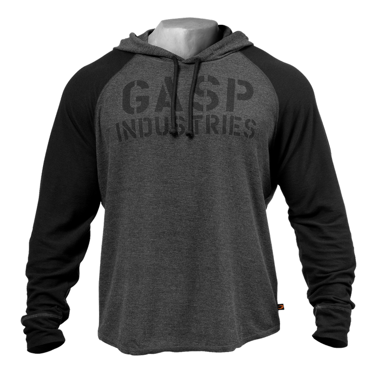 GASP Long Sleeve Thermal Hoodie - Graphite Melange
