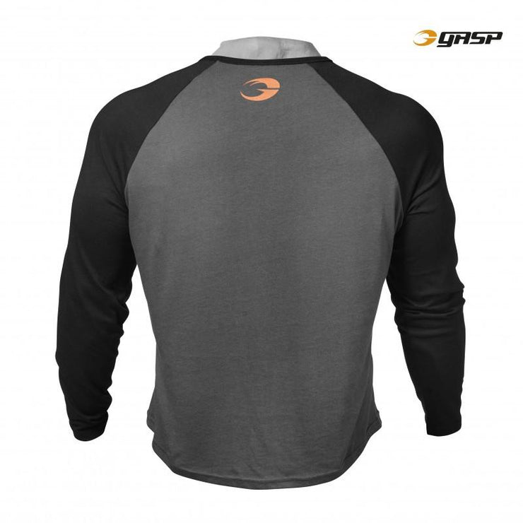 GASP Raglan Long Sleeve Tee - Dark Grey