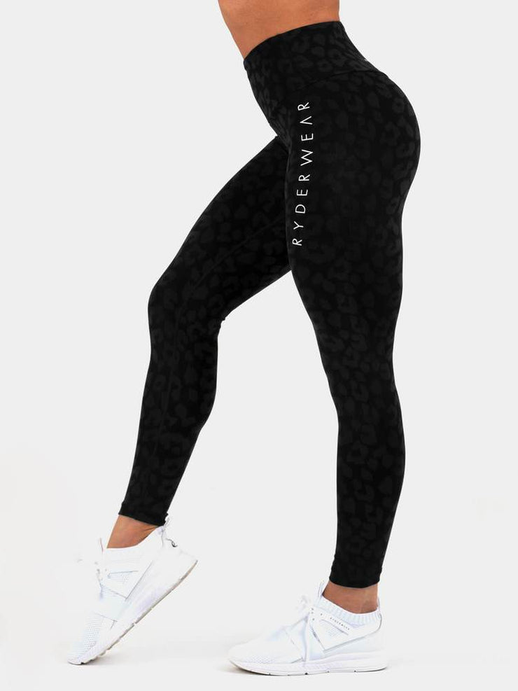 Ryderwear Instinct Scrunch Bum Leggings - Leopard Black