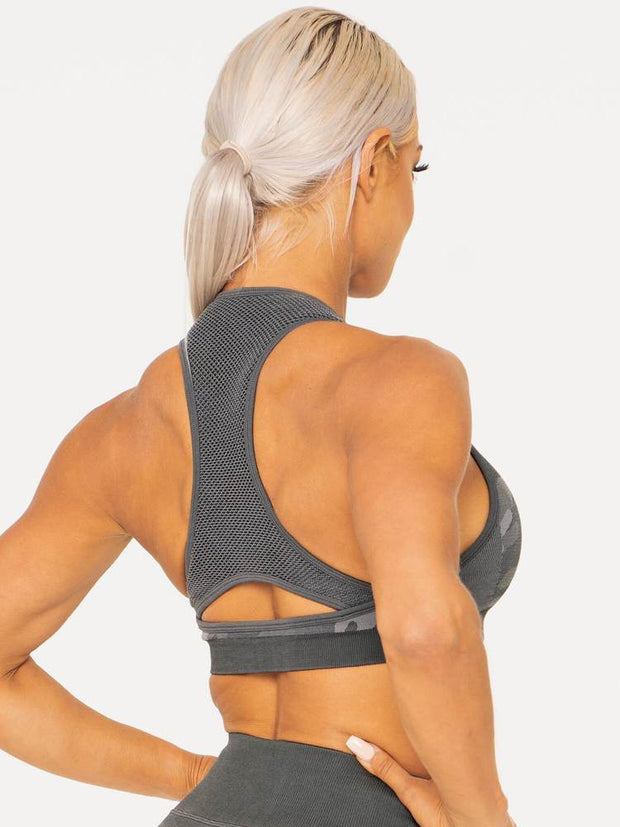 Ryderwear Camo Seamless Sports Bra - Charcoal Camo