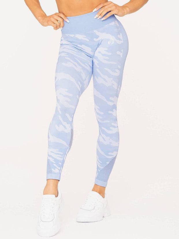 Ryderwear Camo Seamless High Waisted Leggings - Blue Camo