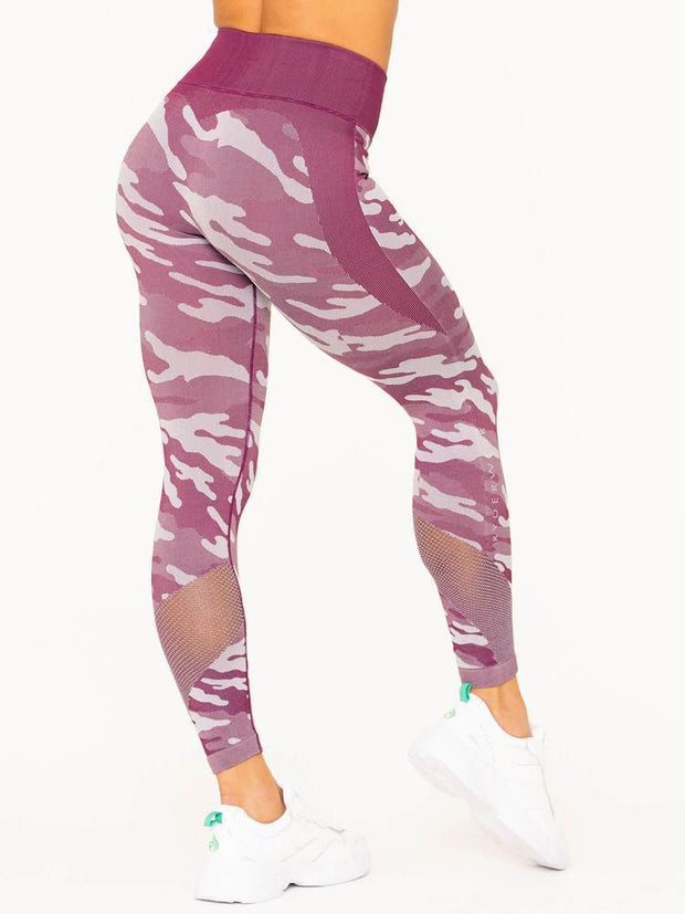 Ryderwear Camo Seamless High Waisted Leggings - Burgundy Camo