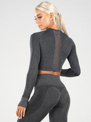 Ryderwear Seamless Long Sleeve Crop - Charcoal Marle