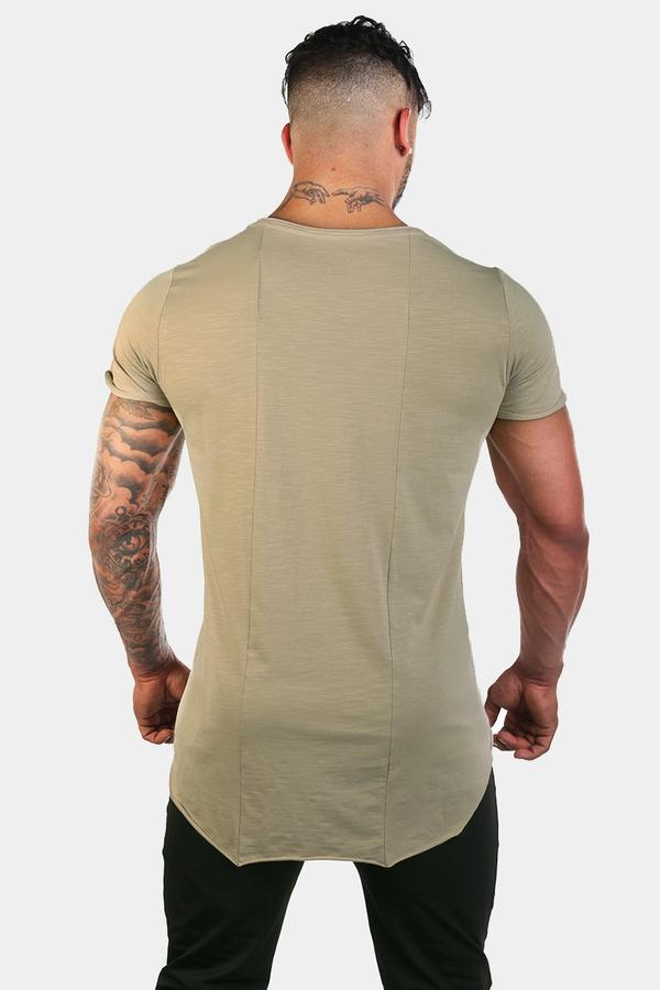 Jed North Empire Loose Fitted Drop Tail Tee - Khaki