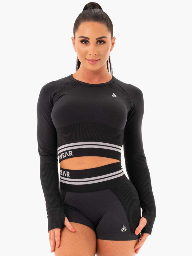 Ryderwear Freestyle Seamless Long Sleeve Crop - Black