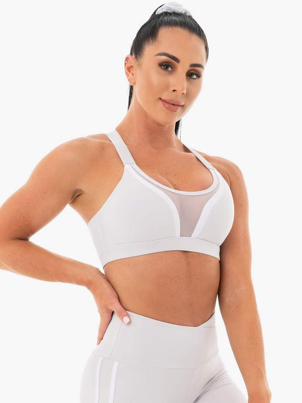 Ryderwear Collide Mesh Contour Sports Bra - Pebble Grey