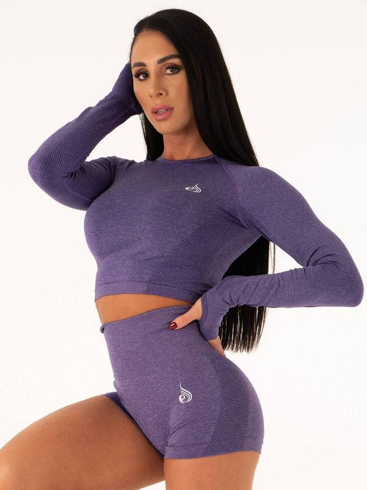 Ryderwear Seamless Long Sleeve Crop - Indigo