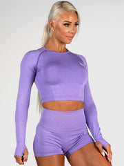 Ryderwear Seamless Long Sleeve Crop - Purple Marl