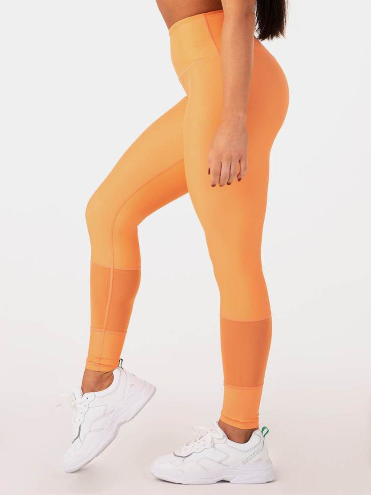 Ryderwear Mesh High Waisted Leggings - Orange