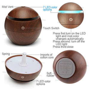 USB Aroma Essential Oil Diffuser Ultrasonic Cool Mist Humidifier Air Purifier 7 Color Change LED Night light for Office Home