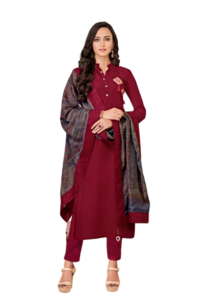 Vardan Maroon Handwork Embroidery Work Full Stitched Suit