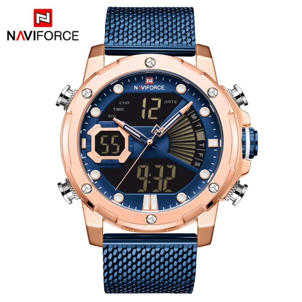 NAVIFORCE Multi-function Analog Quartz Watch Men Sport LCD Digital Watch Stainless Steel Milanese Band