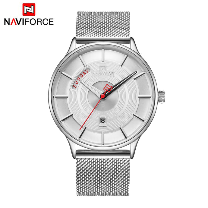 Naviforce New Arrival Silver Calendar Quartz NF3007