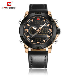 NAVIFORCE Dual Display Men Wristwatch Quartz Watch Men Black Sport Clock With Alarm