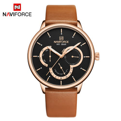 NAVIFORCE Business Elite Minimalist Style Light and Thin Black Leather Watch for Men