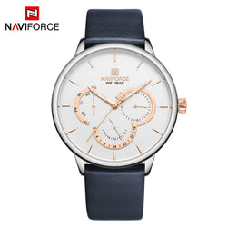 NAVIFORCE Business Elite Minimalist Style Light and Thin White Leather Watch for Men