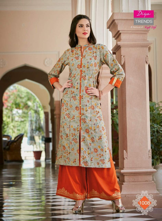 Diya Trends by Kajal Style Design 3 Heavy Rayon Kurti With Palazzo