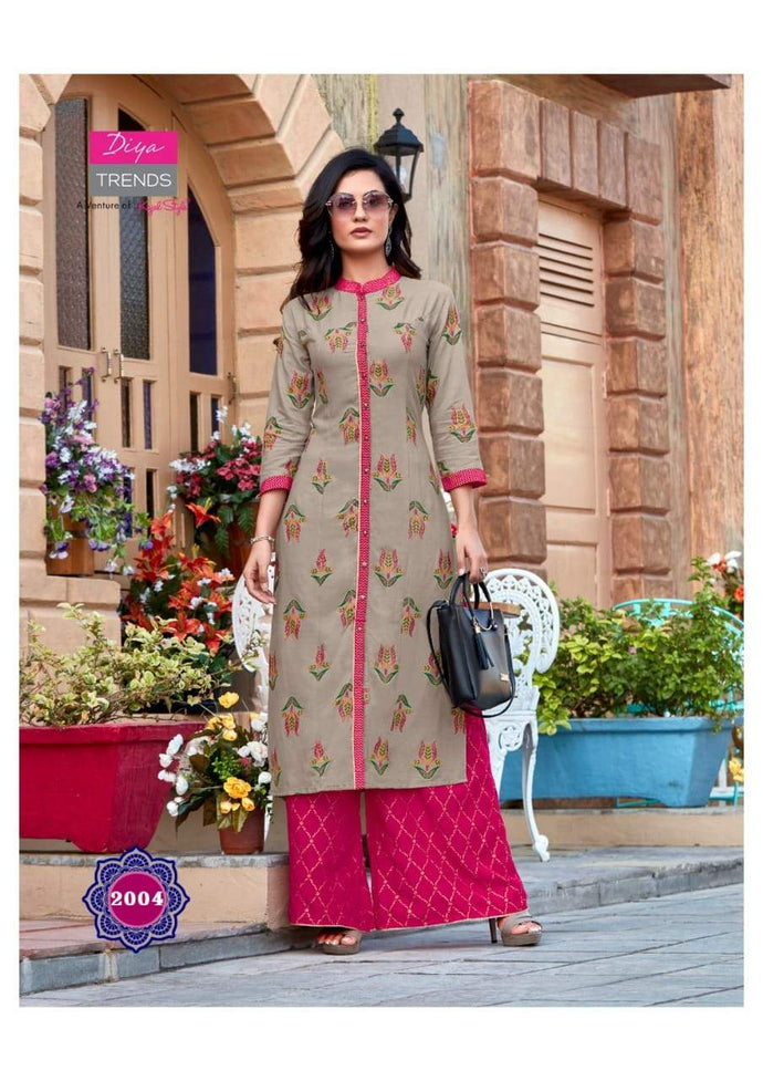 Diya Trends by Kajal Style Design 6 Heavy Rayon Kurti With Palazzo
