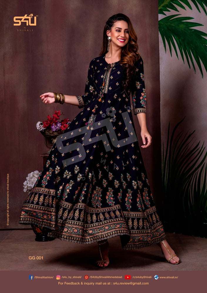 S4U By Launch Gold Gowns Exclusive Stylish Long Kurtis Single Available