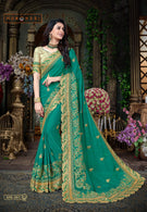 Indian New Latest Jari Embroidery and Tread Work With Lace Border Wedding Saree
