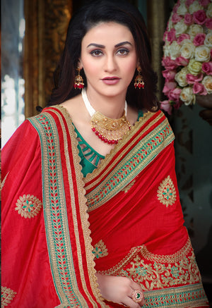 Indian New Latest Jari Embroidery Work With Heavy Embroidery Lace Border Wedding Saree