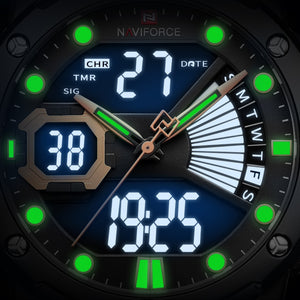 NAVIFORCE Anglog quartz+LCD digital, Multi-function, 3atm Water resistant men's watch NF9172