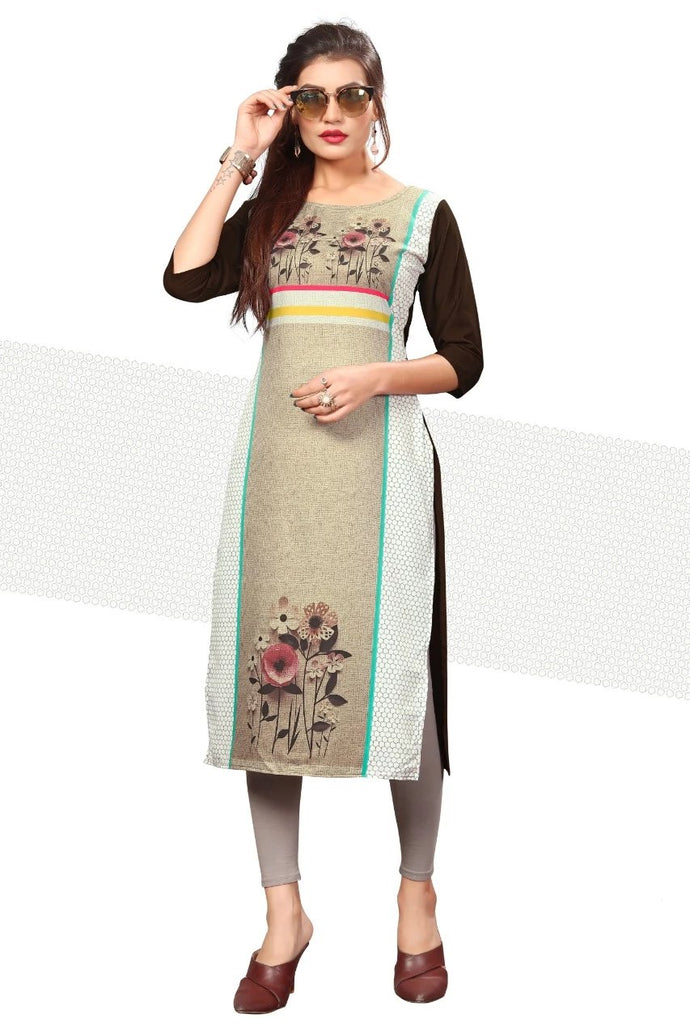 Woman Stitched Straight Crepe Kurti
