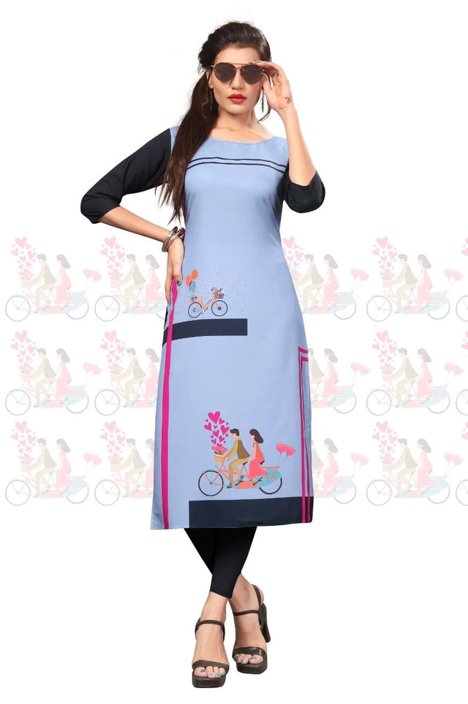 Load image into Gallery viewer, Women's Crepe a-line Kurti Wholesaler
