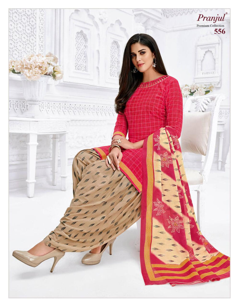 Pranjul Peach Color Printed Patiyala Pure Cotton Dress Material