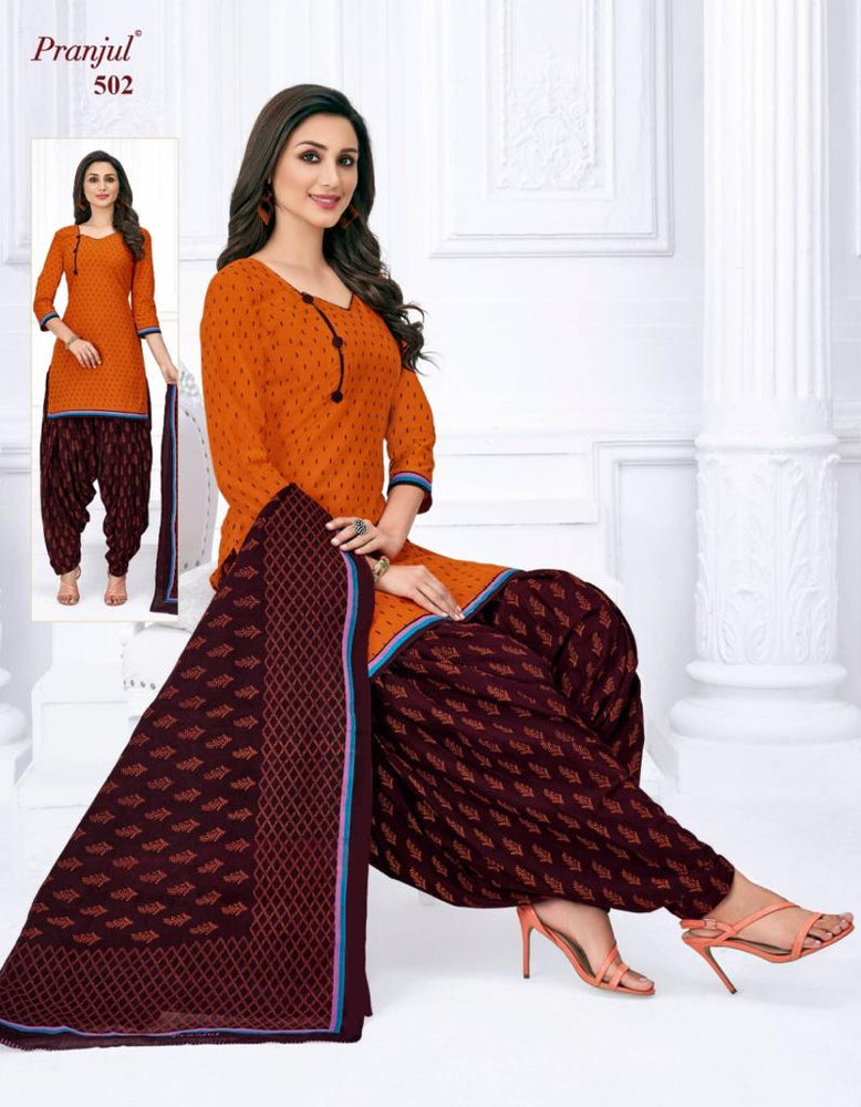 Pranjul Orange and Coffee Color Printed Patiyala Pure Cotton Dress Material