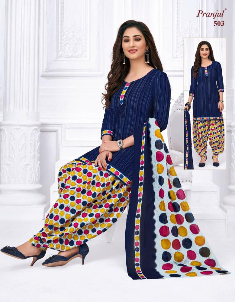 Pranjul Blue Dot Color Printed Patiyala Pure Cotton Dress Material