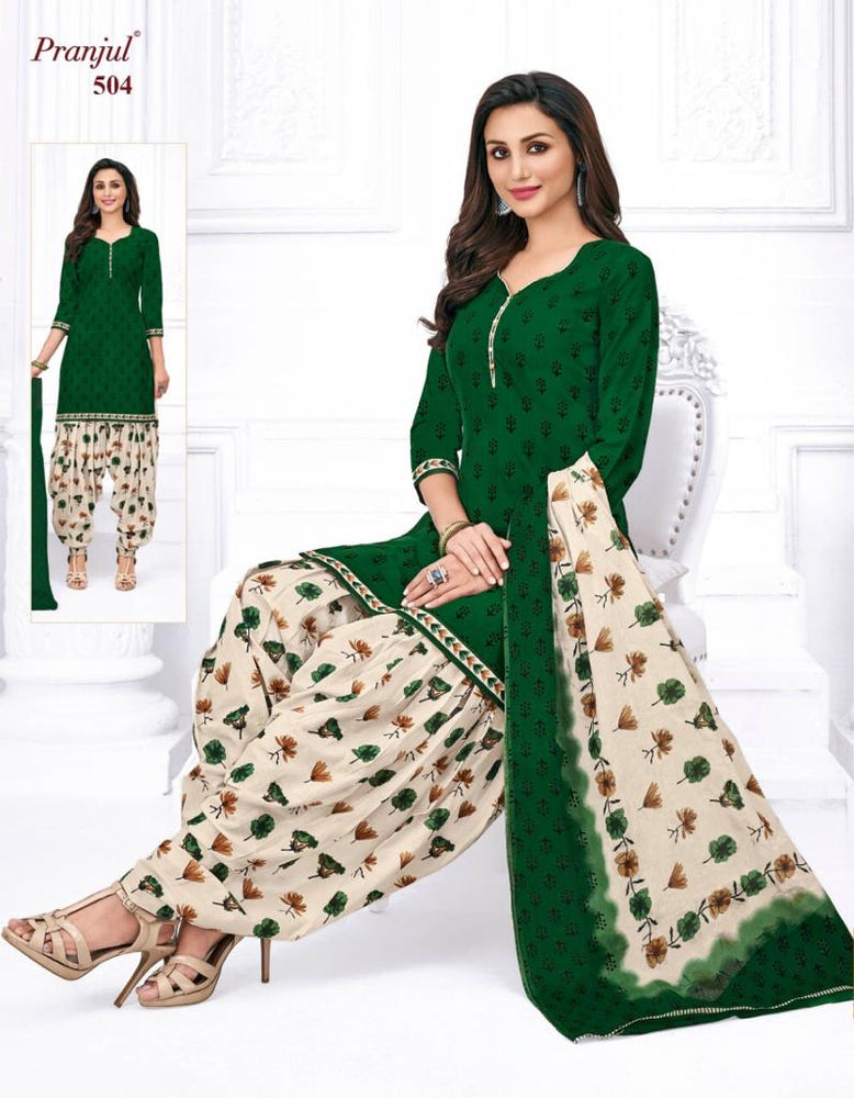 Pranjul Dark Green Color Printed Patiyala Pure Cotton Dress Material