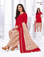 Pranjul Red Chex Color Printed Patiyala Pure Cotton Dress Material