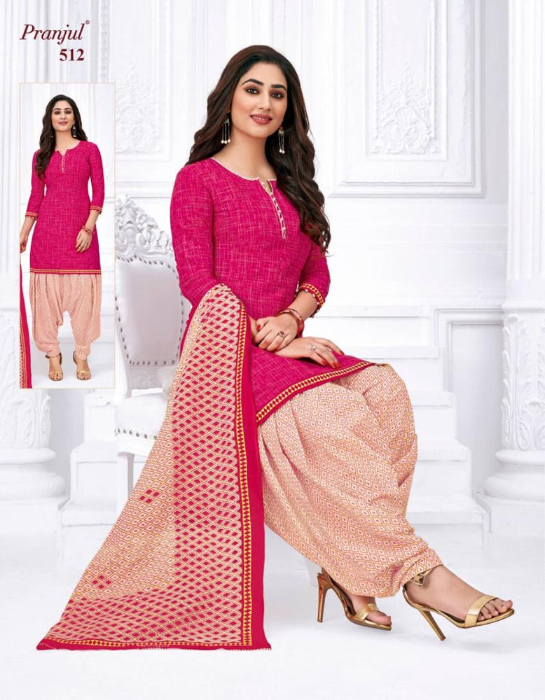 Pranjul Pink Color Printed Patiyala Pure Cotton Dress Material