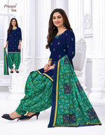 Pranjul Blue and Green Printed Patiyala Pure Cotton Dress Material