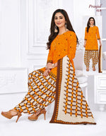 Pranjul Orange Patiyala Pure Cotton Dress Material