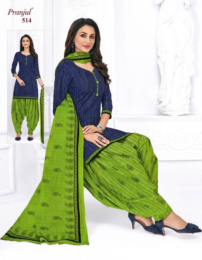Pranjul Navy Blue Patiyala Pure Cotton Dress Material