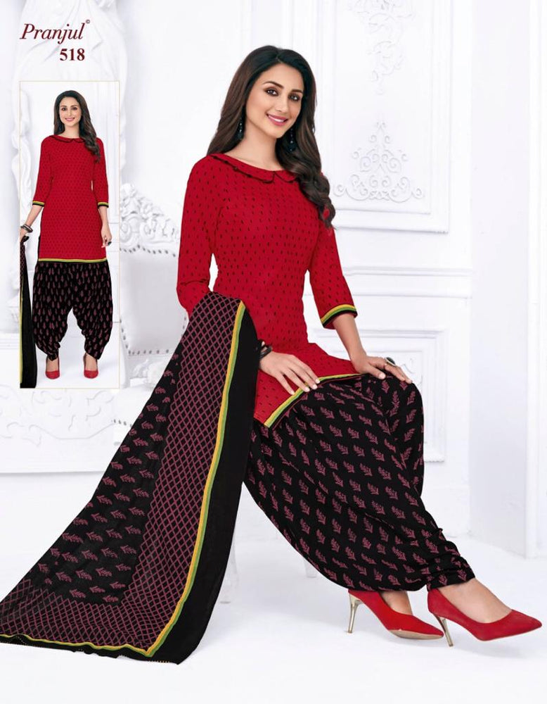 Pranjul Red and Black Patiyala Pure Cotton Dress Material