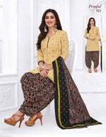 Pranjul Cream Printed Patiyala Pure Cotton Dress Material