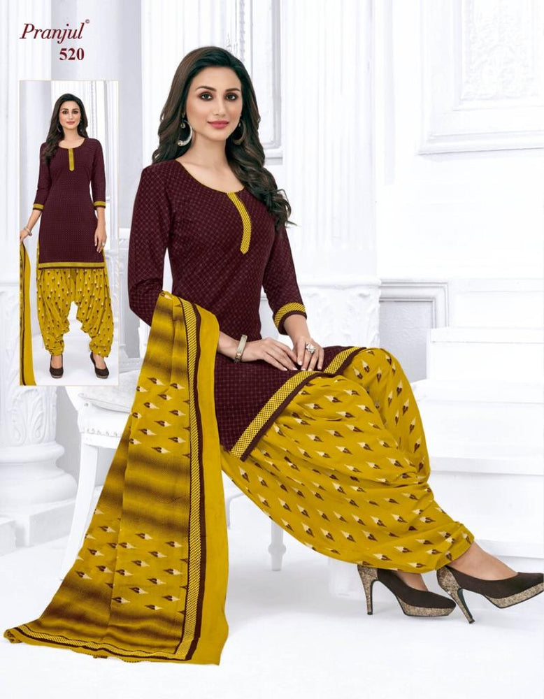 Pranjul Coffee Color Printed Patiyala Pure Cotton Dress Material