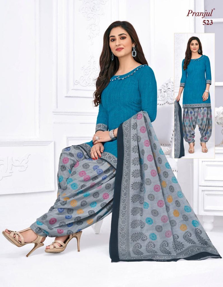 Pranjul Colorful Printed Patiyala Pure Cotton Dress Material