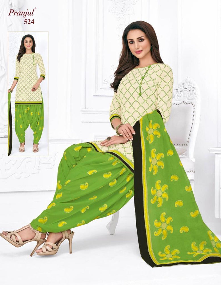Pranjul Parrot Color Chex Printed Patiyala Pure Cotton Dress Material