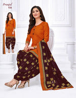 Pranjul Orange Designer Printed Patiyala Pure Cotton Dress Material