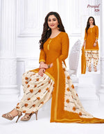 Pranjul Mustard Designer Printed Patiyala Pure Cotton Dress Material