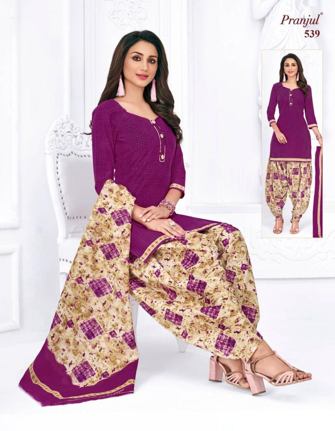 Pranjul Purple Color Design Patiyala Pure Cotton Dress Material